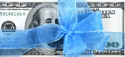 100 Dollar Bill with Bow: Tax-Free Gift