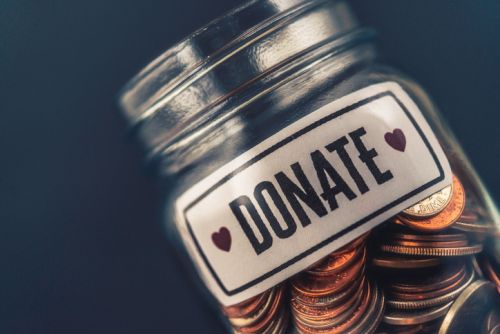 Charitable Donation Jar with Coins